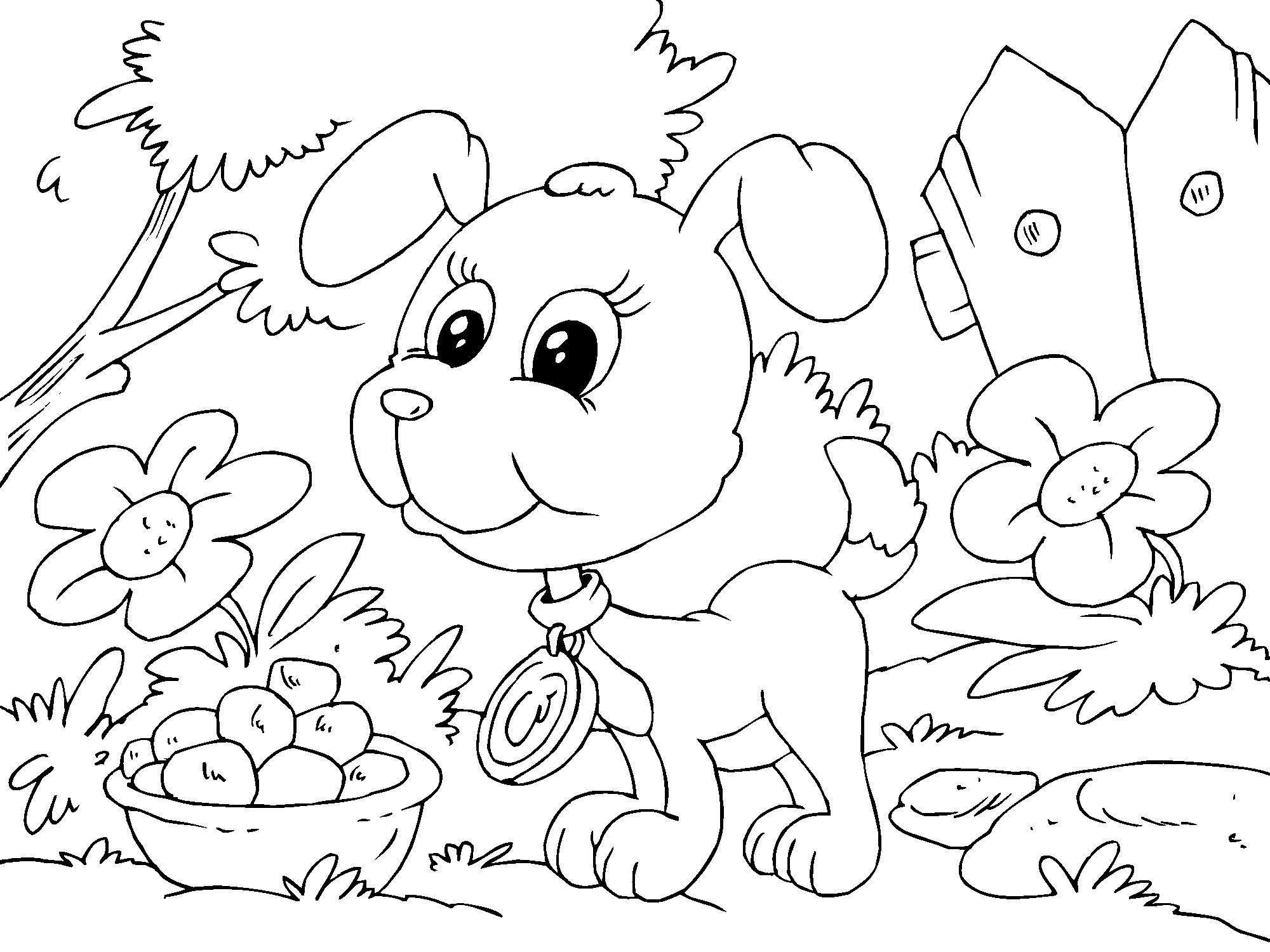 Cómo educar a un cachorro: Cachorros para colorear